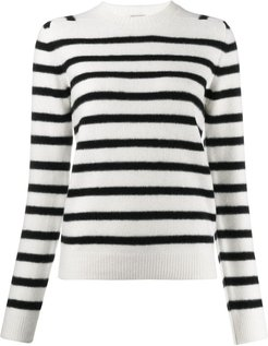 striped knitted jumper - White