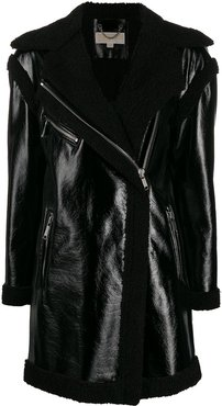 shearling lining zip coat - Black