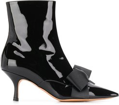 bow detail ankle boots - Black