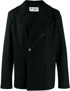 boxy fit double-breasted coat - Black
