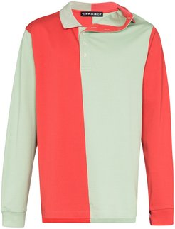 asymmetric panelled polo shirt - Red