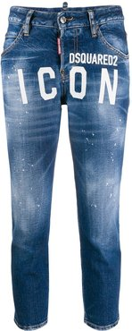ICON logo cropped jeans - Blue