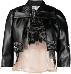buckle detail cropped jacket - Black
