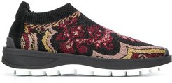 patterned running sneakers - Black