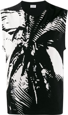 abstract print vest - Black