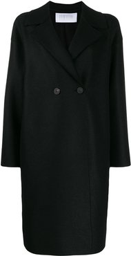 boxy double-breasted coat - Black