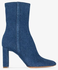blue 100 denim ankle boots