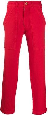 wide-leg cargo trousers - Red