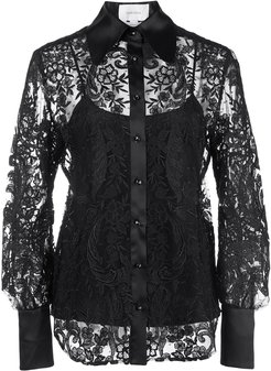 embroidered lace shirt - Black