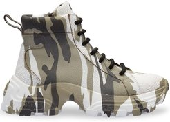 crackled camouflage high-top sneakers - Green
