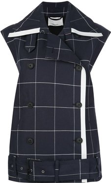 Window Pan trench-style vest - Blue