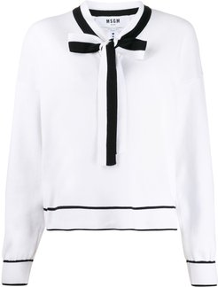 tie-neck jumper - White