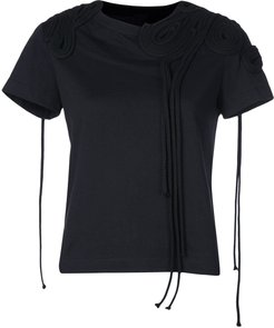 corded embroidery T-shirt - Black