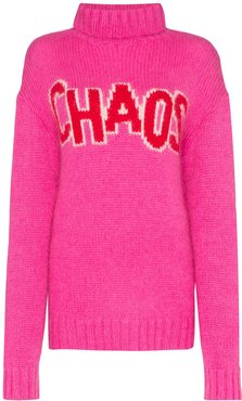oversized Chaos turtleneck knitted dress - PINK