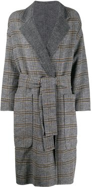 check patterned double-breasted coat - Grey