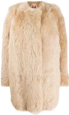 single-breasted fur coat - Neutrals