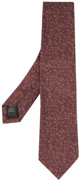 geometric embroidered tie