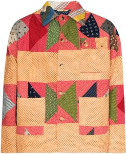 patchwork quilted jacket - Blue