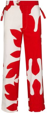 Setting side-tie trousers - Red