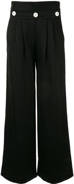 button-embellished trousers - Black