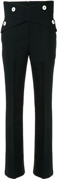 button-embellished flared trousers - Blue