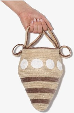 neutral shell straw mini bag