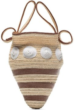 shell woven mini bag - Neutrals