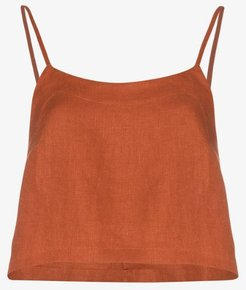 Flared cropped linen camisole