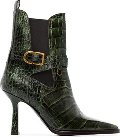 Naomy 90mm crocodile-effect boots - Brown