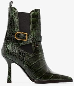 green Naomy 90 mock croc leather boots