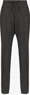 drawstring check stretch wool trousers