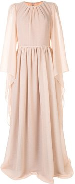 draped long-sleeved gown - PINK