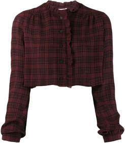 cropped check shirt - Red