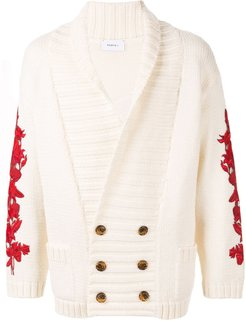 double-breasted cardigan - Neutrals