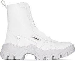 White Boccacio chunky sole ankle boots