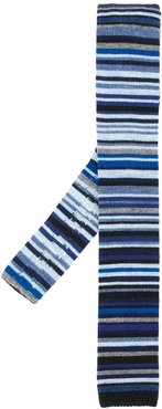 knitted stripe tie - Blue
