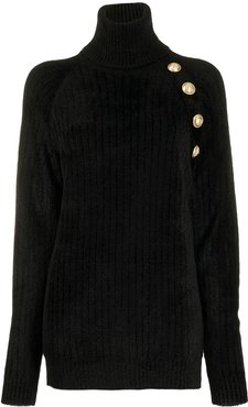 decorative buttons oversized jumper - Black