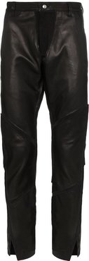 leather-panelled trousers - Black