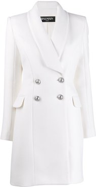 double breasted long line jacket - White