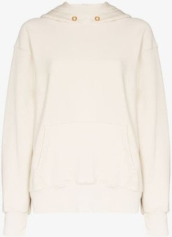 brushed cotton cropped hoodie