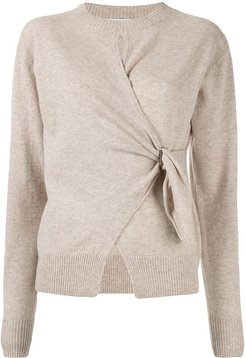 draped fitted jumper - Neutrals