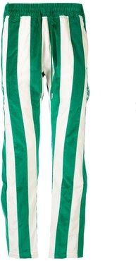 striped velvet track pants - Green