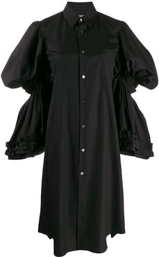 tiered-sleeve shirt dress - Black
