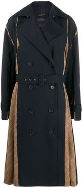 Panel Trech double breasted coat - Blue