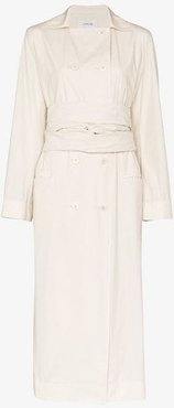 double-breasted tie waist trench coat