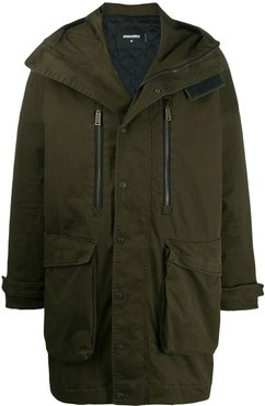 concealed zip up parka - Green