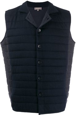 padded buttoned gilet - Blue