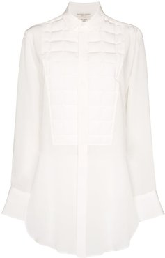 quilted silk shirt - White