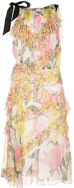 floral print tiered dress - White
