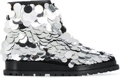 metallic disc embellished boots - SILVER